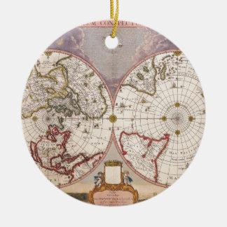 Antique World Map Round Ceramic Decoration