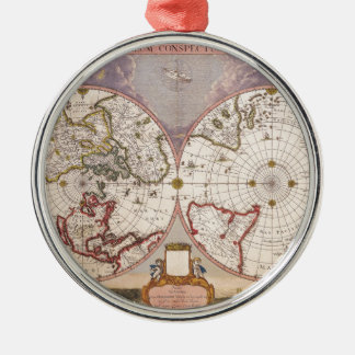 Antique World Map Silver-Colored Round Decoration