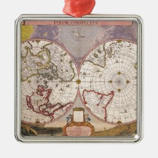 Antique World Map Silver-Colored Square Decoration