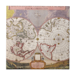 Antique World Map Small Square Tile