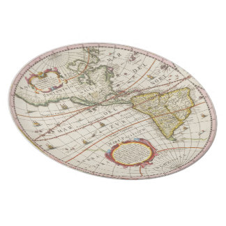 Antique World Map The Americas Dinner Plates