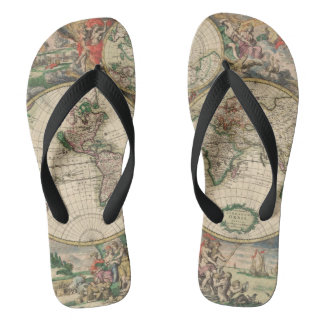 Antique World Map Thongs