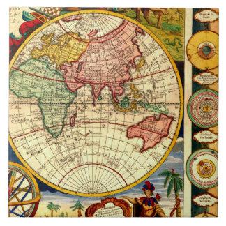 Antique World Map Vintage Art Ceramic Wall Decor Ceramic Tiles