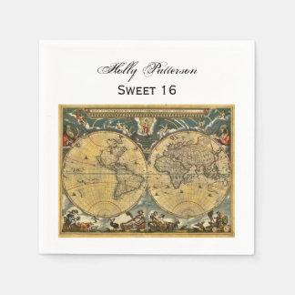 Antique World Map, White BG SQ Sweet 16 Disposable Serviettes