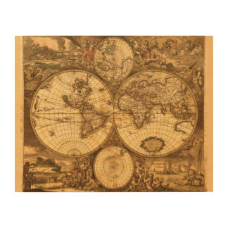 Antique World Map Wood Wall Art