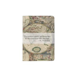 Antique World Map | World Is a Book Travel Quote Passport Holder