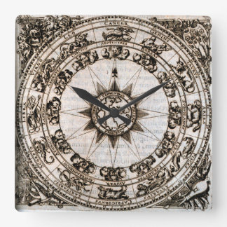 Antique Zodiac And Winds Square Wall Clock