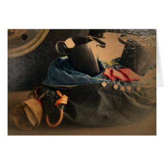 Antiqued fire gear greeting card