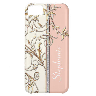 Antiqued Gold Golden Swirl Faux Jewel Personalized iPhone 5C Case