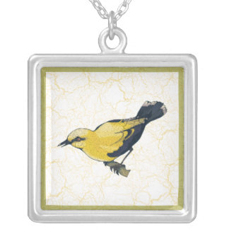 Antiqued Oriole Bird Silver Plated Necklace