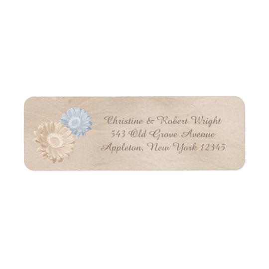Antiqued Peach Paper and Pastel Flowers Return Address Label
