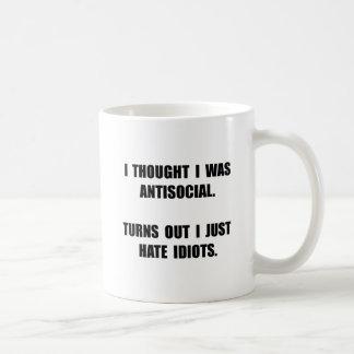 Antisocial Idiots Basic White Mug