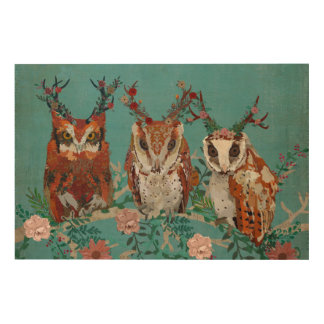 ANTLER FLORAL OWLS ON BRANCH Wooden Canvas Wood Wall Decor