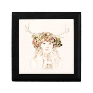 Antler Girl With Flowers Gift Box