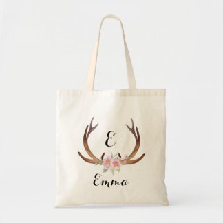 Antler with Pink Watercolor Flowers Tote Bag