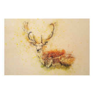 Antlered Deer Wall Art on Wood Nature