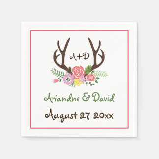 Antlers and flowers woodland monogram wedding disposable napkin
