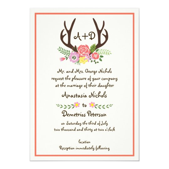 Antlers & coral flowers monogram woodland wedding card