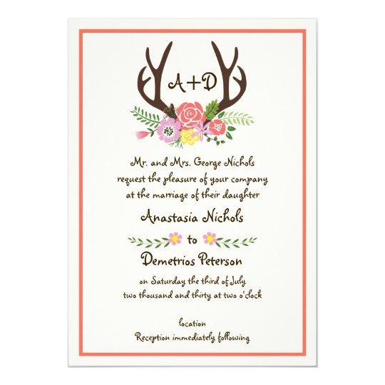 Antlers & coral flowers monogram woodland wedding card