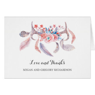 antlers floral boho feathers wedding thank you card