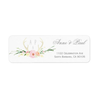 Antlers floral pink Wedding Address Labels
