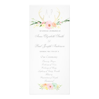 Antlers floral Wedding Program Rack Card
