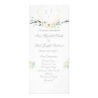 Antlers floral Wedding Program Custom Rack Card