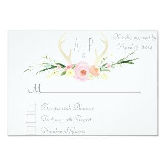 Antlers pink floral RSVP Card 9 Cm X 13 Cm Invitation Card