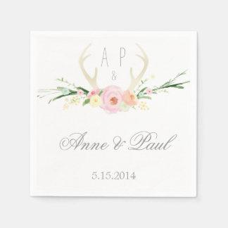Antlers pink Floral Wedding Napkin Paper Napkin