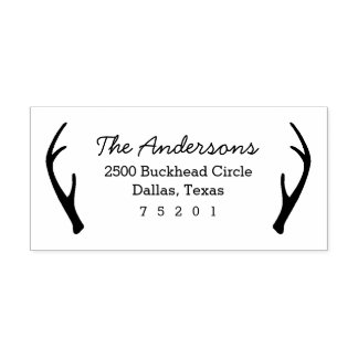 Antlers Return Address Rubber Stamp