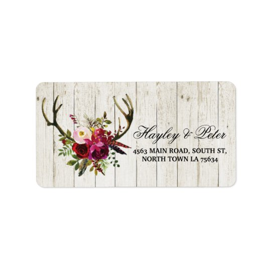 Antlers Rustic Address Labels Stickers Wedding