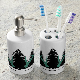 Antlers, Trees & Arrows Soap Dispenser And Toothbrush Holder