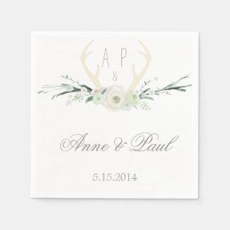 Antlers white Floral Wedding Napkin Disposable Napkin