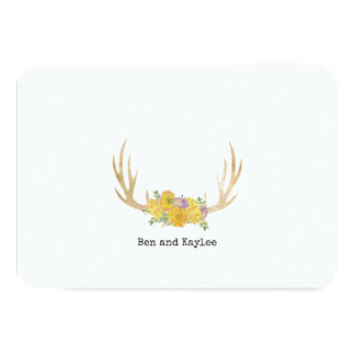 Antlers with BoHo Flowers Personalised Thank You Card