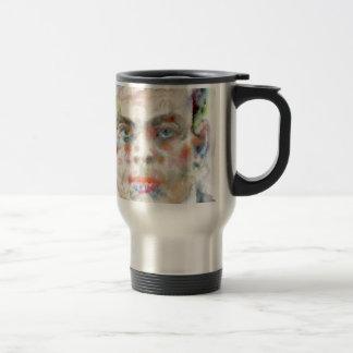antoine de saint exupery - watercolor portrait travel mug
