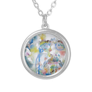 anton chekhov - watercolor portrait.1 silver plated necklace