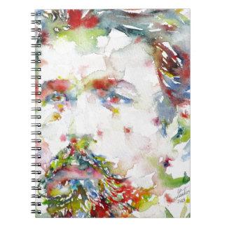 anton chekhov - watercolor portrait.3 spiral notebook
