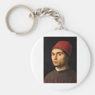 Antonello da Messina - Portrait of a Man Basic Round Button Key Ring