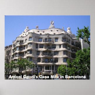 Antoni Gaudi's Casa Mil in Barcelona Poster