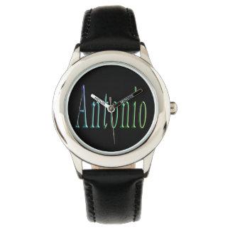Antonio, Name, Logo,  Boys Black Leather Watch. Watch