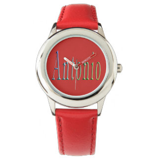 Antonio, Name, Logo,  Boys Red Leather Watch. Watch