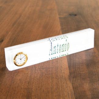 Antonio, Name, Logo,  Desk Name Plate With Clock.