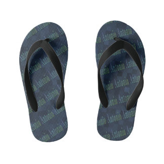 Antonio Name Logo On Blue Mosaic Kid's Thongs