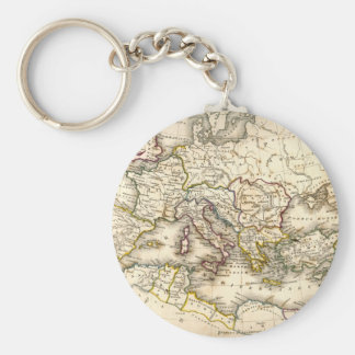 Antquie Map of Ancient Roman Basic Round Button Key Ring