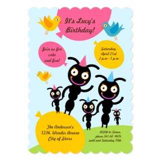 Ants and balloons kids birthday party invitation