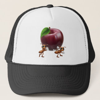 Ants carrying a big apple trucker hat