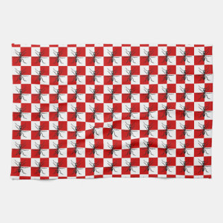 Ants Picnic Marching Bugs Red Checked Design Tea Towel