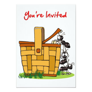 Ants Raiding Picnic Basket You're Invited Card