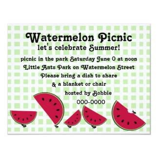 Ant's Watermleon Picnic 11 Cm X 14 Cm Invitation Card