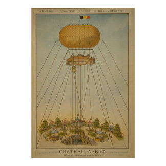 Antwerp Expo 1894 Air Castle Balloon vintage Poster